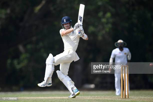 Joe Denly of England bats during day three of the tour match between SLC Board President's XI and England at Chilaw Marians Cricket Club Ground on...