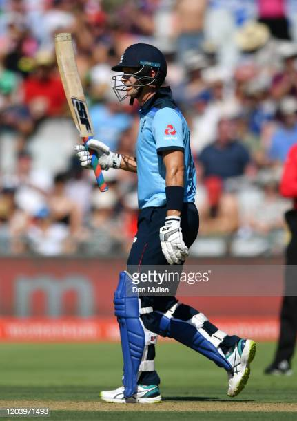 Joe Denly of England celebrates reaching fifty during the First One Day International match between South Africa and England at Newlands on February...