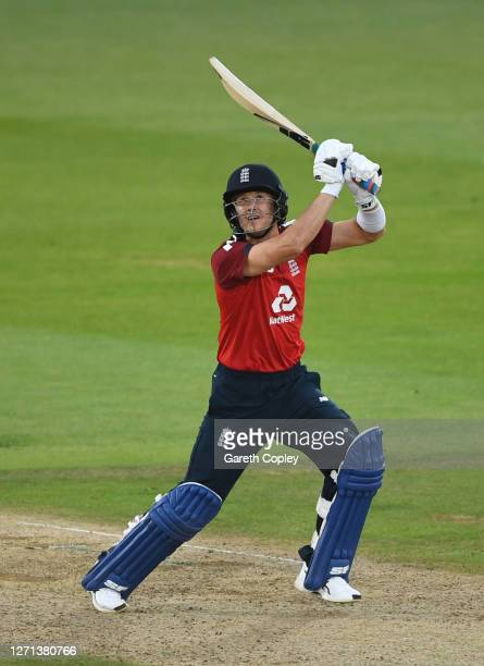 Joe Denly of England drives the ball for four during the 3rd Vitality International Twenty20 match between England and Australia at The Ageas Bowl on...