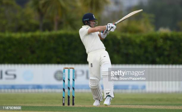 Joe Denly of England hits out at Cobham Oval on November 16 2019 in Whangarei New Zealand