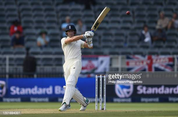 Joe Denly of England hits out during Day One of the Fourth Test between England and South Africa on January 24, 2020 in Johannesburg, South Africa.