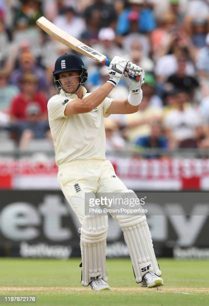 Joe Denly of England hits out during Day Three of the Second Test between England and South Africa on January 05, 2020 in Cape Town, South Africa.
