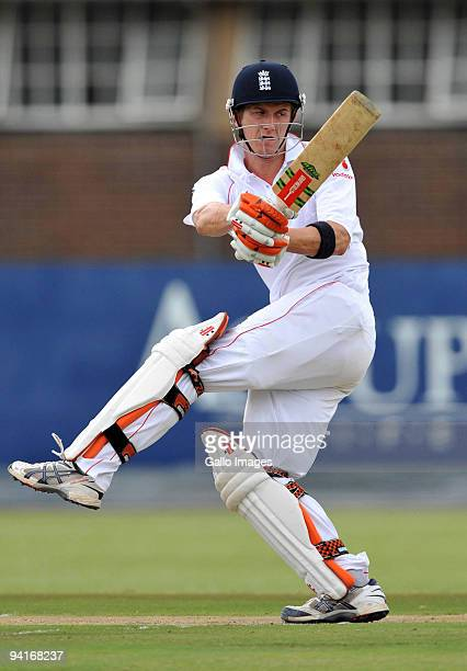 Joe Denly of England in his innings of 217 runs during the practice match between Nashua Titans Invitational XI and England Lions at the High...