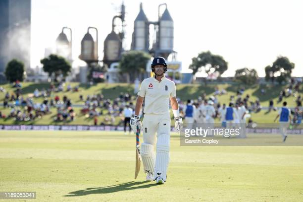 Joe Denly of England leaves the field after being dismissed by Tim Southee of New Zealand during day one of the first Test match between New Zealand...