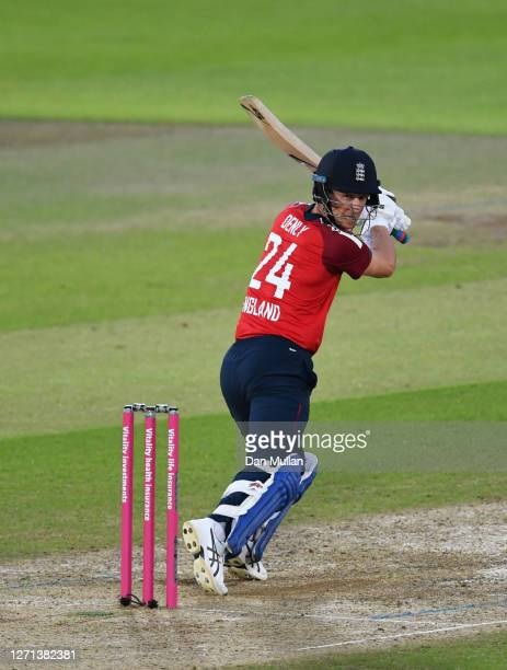 Joe Denly of England plays a shot during the 3rd Vitality International Twenty20 match between England and Australia at The Ageas Bowl on September...