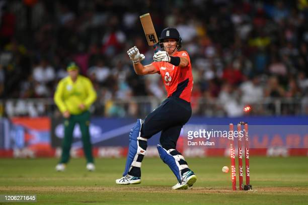 Joe Denly of England plays onto his stumps during the Second T20 International match between England and South Africa at Kingsmead Stadium on...