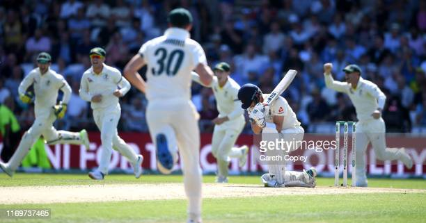 Joe Denly of England reacts after being dismissed by James Pattinson of Australia during day two of the 3rd Specsavers Ashes Test match between...