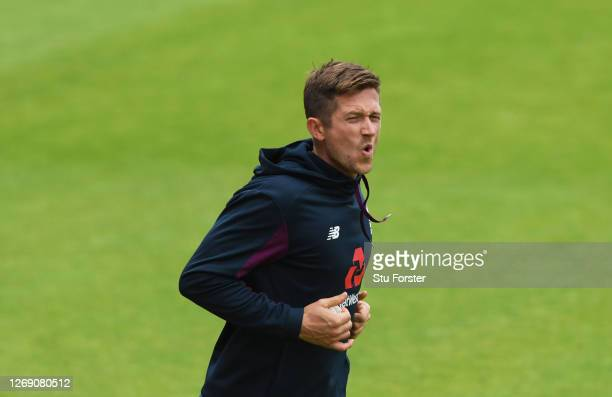 Joe Denly of England reacts during fielding practice during an England Net Session at Emirates Old Trafford on August 27 2020 in Manchester England