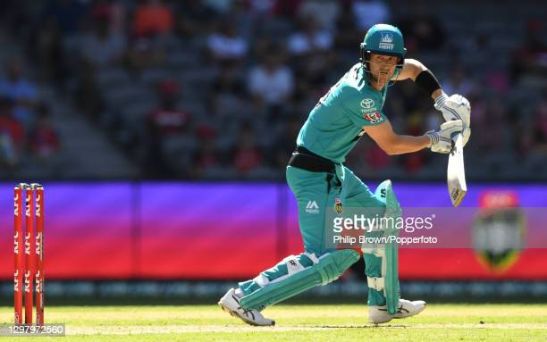 Joe Denly of Heat bats during the Big Bash League match between the Melbourne Renegades and the Brisbane Heat at Marvel Stadium, on January 23 in...