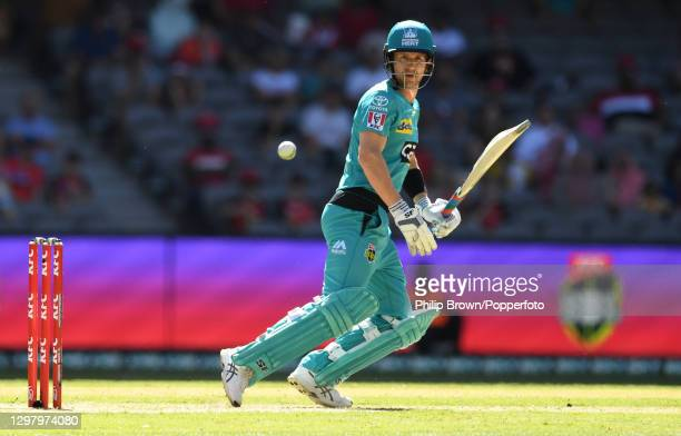 Joe Denly of Heat hits out during the Big Bash League match between the Melbourne Renegades and the Brisbane Heat at Marvel Stadium, on January 23 in...