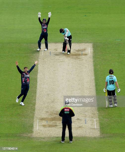 Joe Denly of Kent appeals unsuccessfully for the wicket of Hashim Amla of Surrey during the Vitality Blast QuarterFinal match between Surrey and Kent...