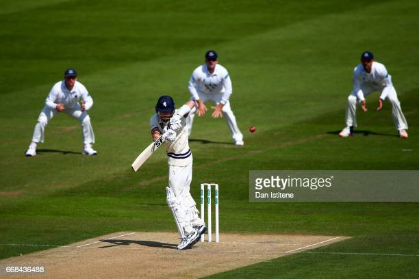 Joe Denly of Kent bats during day one of the Specsavers County Championship Division Two match between Sussex and Kent at The 1st Central County...