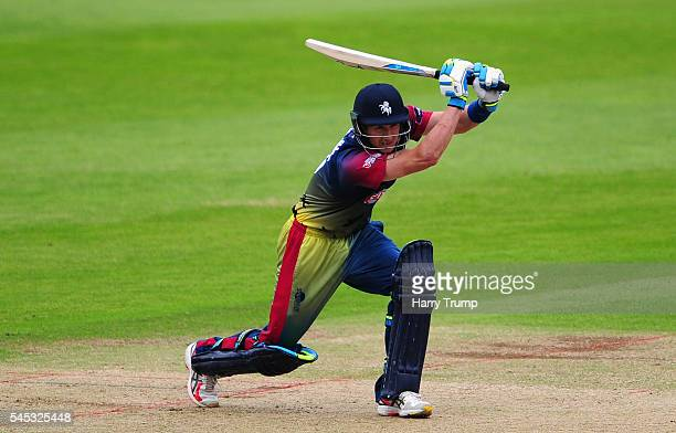 Joe Denly of Kent bats during the Natwest T20 Blast match between Somerset and Kent at The Cooper Associates County Ground on July 7 2016 in Somerset...