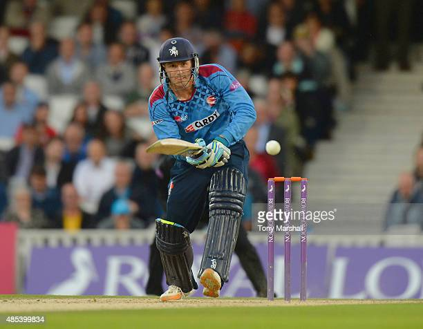 Joe Denly of Kent bats during the Royal London OneDay Cup Quarter Final match between Surrey and Kent at The Kia Oval on August 27 2015 in London...