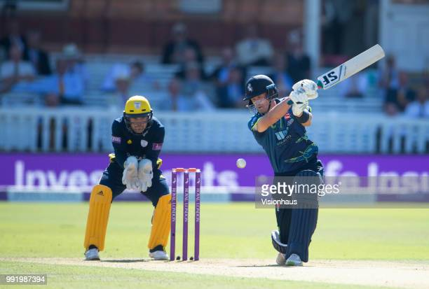 Joe Denly of Kent batting as Lewis McManus lof Hampsire looks on during the Royal London OneDay Cup match between Hampshire and Kent at Lord's...