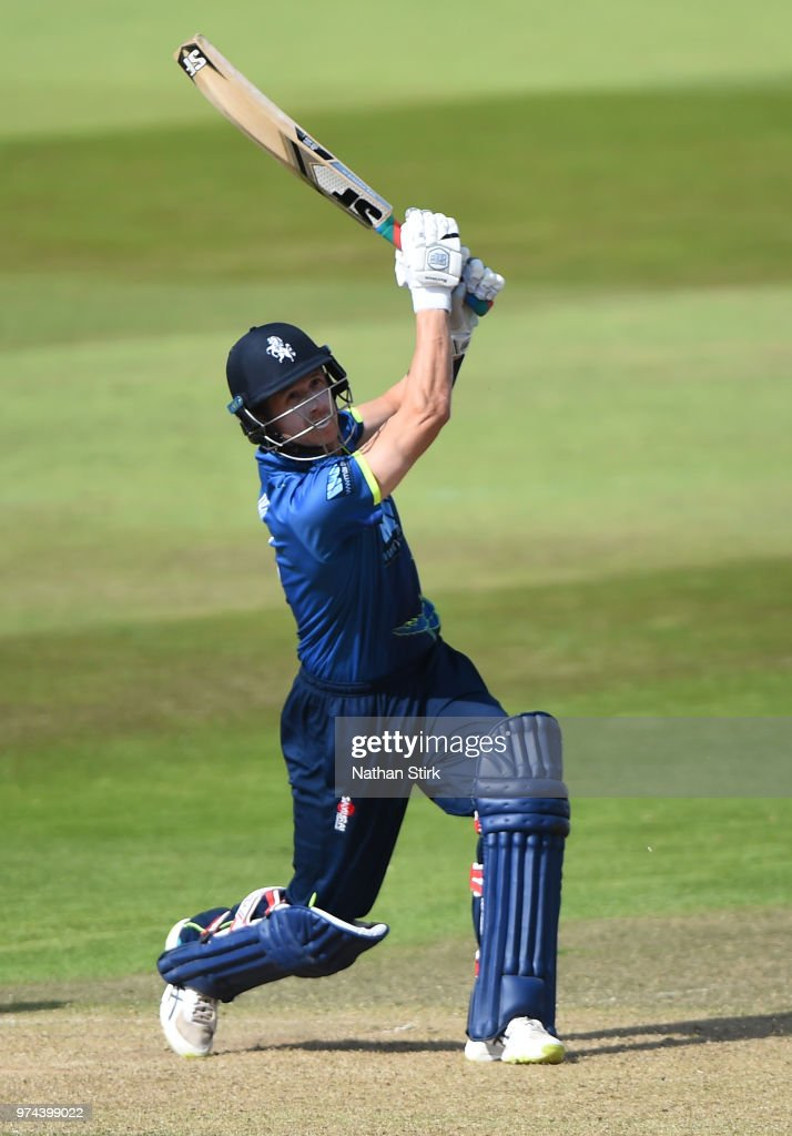 Joe Denly of Kent batting during the Royal London One-Day Cup match between Nottinghamshire Outlaws and Kent Spitfires at Trent Bridge on June 14, 2018 in Nottingham, England.