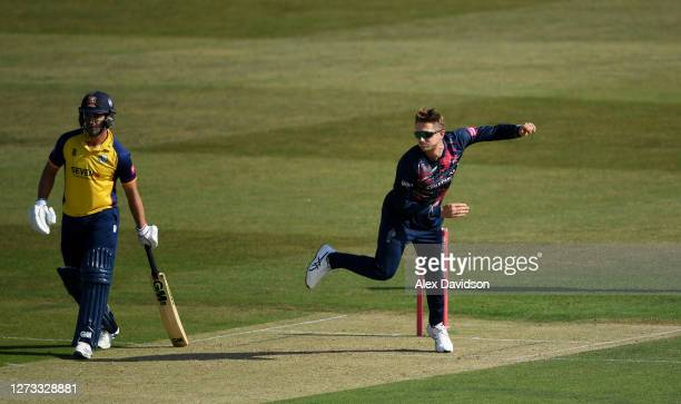Joe Denly of Kent bowls during the Vitality Blast game between Kent Spitfires and Essex Eagles at The Spitfire Ground on September 18 2020 in...