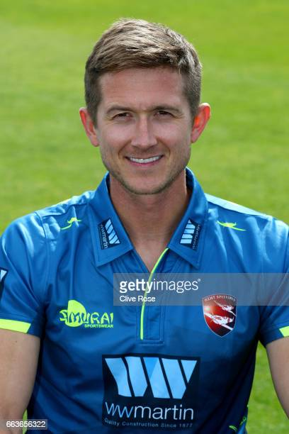 Joe Denly of Kent CCC poses in the One Day Cup competition kit during the Kent CCC Photocall at The Spitfire Ground on March 31 2017 in Canterbury...