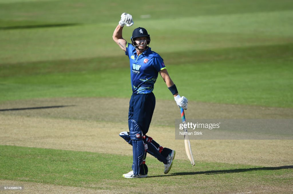 Joe Denly of Kent celebrates after the beat Nottingham during the Royal London One-Day Cup match between Nottinghamshire Outlaws and Kent Spitfires at Trent Bridge on June 14, 2018 in Nottingham, England.