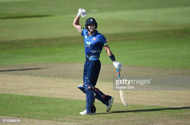 Joe Denly of Kent celebrates after the beat Nottingham during the Royal London OneDay Cup match between Nottinghamshire Outlaws and Kent Spitfires at...