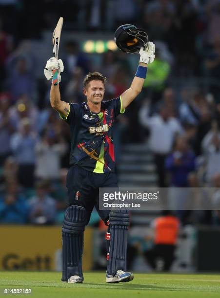 Joe Denly of Kent celebrates his century during the NatWest T20 Blast match between Surrey and Kent at The Kia Oval on July 14 2017 in London England