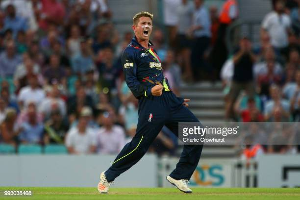 Joe Denly of Kent celebrates his hatrick during the Vitality Blast match between Surrey and Kent Spitfires at The Kia Oval on July 6, 2018 in London,...