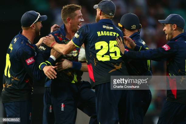 Joe Denly of Kent celebrates his hatrick during the Vitality Blast match between Surrey and Kent Spitfires at The Kia Oval on July 6 2018 in London...