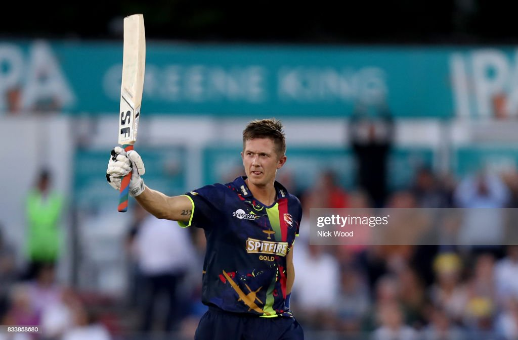 Joe Denly of Kent celebrates scoring a century of runs during the Essex v Kent - NatWest T20 Blast (G) cricket match at the Cloudfm County Ground on August 17, 2017 in Chelmsford, England.