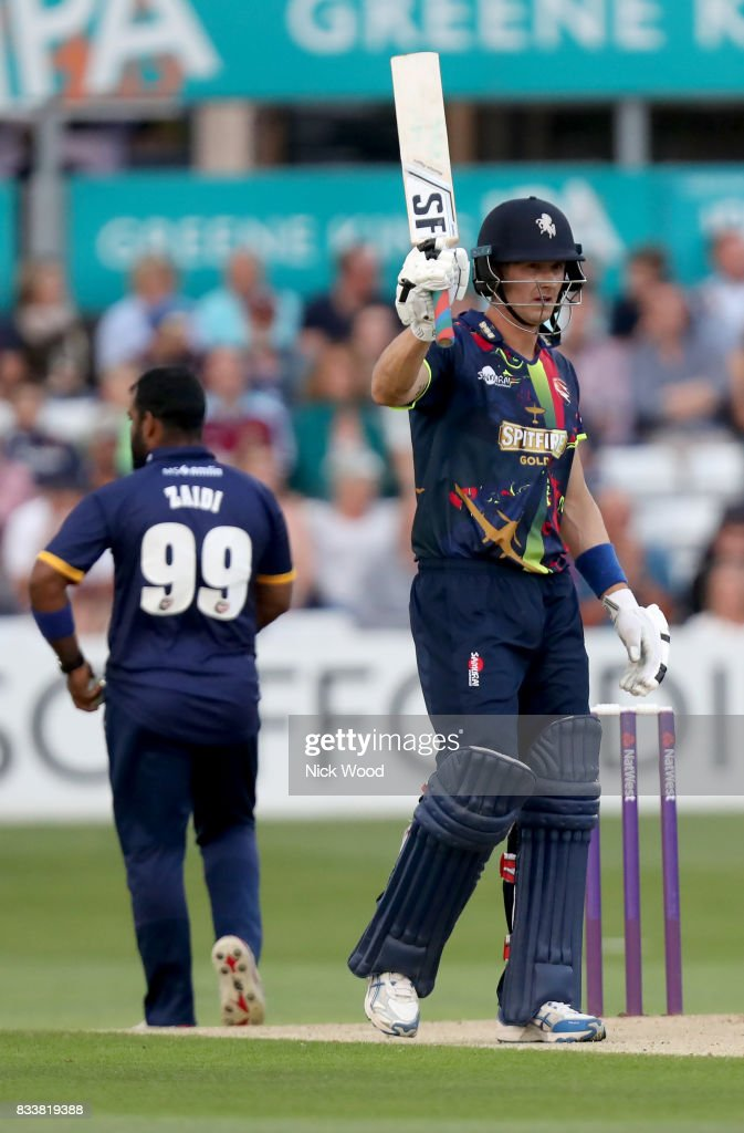 Joe Denly of Kent celebrates scoring fifty runs during the Essex v Kent - NatWest T20 Blast (G) cricket match at the Cloudfm County Ground on August 17, 2017 in Chelmsford, England.