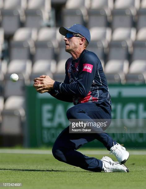 Joe Denly of Kent fails to make a catch during the T20 Vitality Blast 2020 between Hampshire and Kent Spitfires at The Ageas Bowl on September 14...