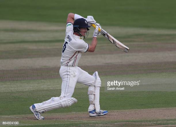 Joe Denly of Kent hits out during day one of the Specsavers County Championship Division Two match between Kent and Glamorgan at The Spitfire Ground...