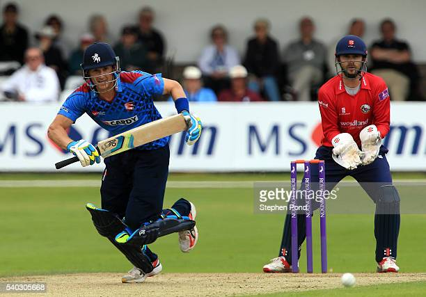 Joe Denly of Kent hits out during the Royal London OneDay Cup match between Essex and Kent at the Ford County Ground on June 15 2016 in Chelmsford...