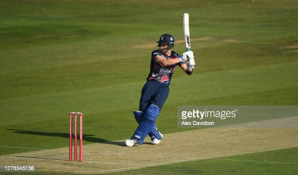 Joe Denly of Kent hits runs during the Vitality Blast game between Kent Spitfires and Essex Eagles at The Spitfire Ground on September 18 2020 in...
