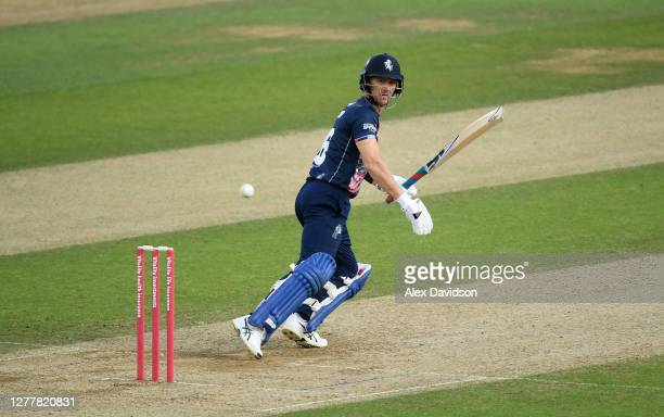 Joe Denly of Kent hits runs during the Vitality Blast QuarterFinal match between Surrey and Kent Spitfires at The Kia Oval on October 01 2020 in...