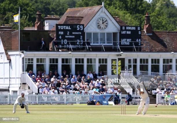 Joe Denly of Kent in action on day two of the Specsavers County Championship Division Two match between Kent and Warwickshire at The Nevill Ground on...