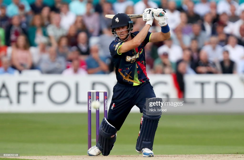 Joe Denly of Kent in batting action during the Essex v Kent - NatWest T20 Blast (G) cricket match at the Cloudfm County Ground on August 17, 2017 in Chelmsford, England.