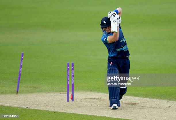 Joe Denly of Kent is bowled out by Stuart Meaker of Surrey during the Royal London OneDay Cup match between Surrey and Kent at The Kia Oval on May 12...