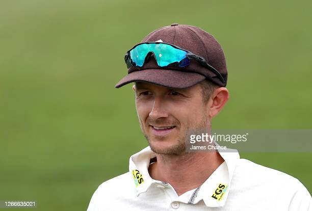 Joe Denly of Kent looks on during Day 2 of the Bob Willis Trophy match between Kent and Middlesex at The Spitfire Ground on August 16 2020 in...