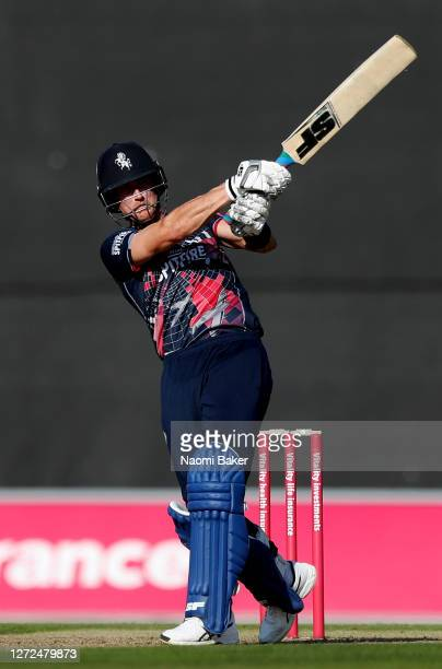 Joe Denly of Kent plays a shot during the T20 Vitality Blast 2020 between Hampshire and Kent Spitfires at The Ageas Bowl on September 14 2020 in...