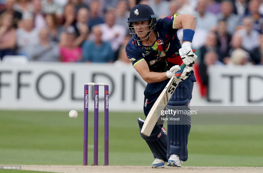 Joe Denly of Kent plays an early attacking stroke during the Essex v Kent - NatWest T20 Blast (G) cricket match at the Cloudfm County Ground on August 17, 2017 in Chelmsford, England.