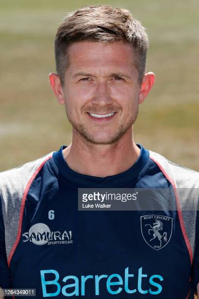 Joe Denly of Kent poses for a photo during the Kent CCC Photocall at The Spitfire Ground on August 06 2020 in Canterbury England