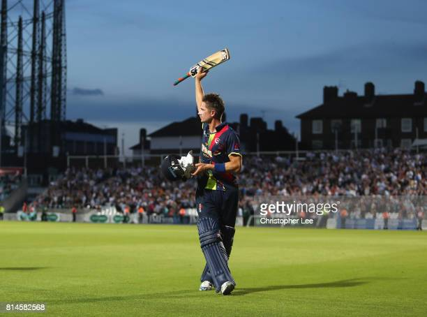 Joe Denly of Kent salutes the fans as he celebrates his 166 not out and Kent's victory during the NatWest T20 Blast match between Surrey and Kent at...