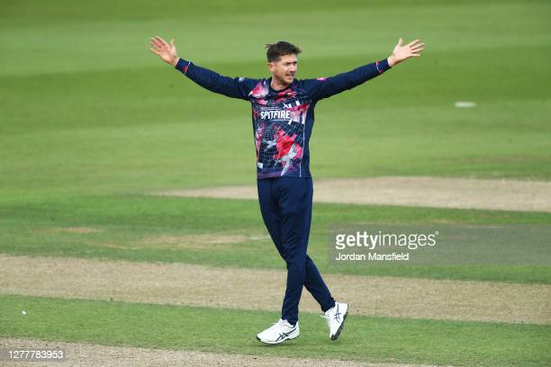 Joe Denly of Kent Spitfires appeals unsuccessfully during the T20 Vitality Blast Quarter Final match between Surrey and Kent at The Kia Oval on...
