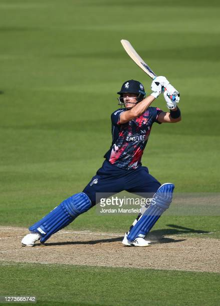 Joe Denly of Kent Spitfires bats during the T20 Vitality Blast match between Surrey and Kent Spitfires at The Kia Oval on September 20 2020 in London...