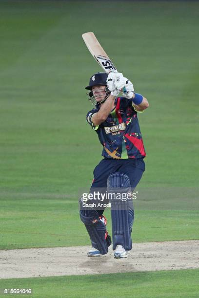 Joe Denly of Kent Spitfires hits a six during the NatWest T20 Blast South Group match at The Spitfire Ground on July 18 2017 in Canterbury England