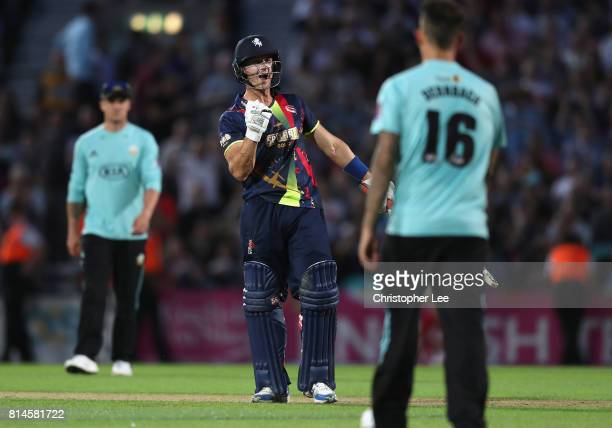 Joe Denly of Kentcelebrates their victory during the NatWest T20 Blast match between Surrey and Kent at The Kia Oval on July 14 2017 in London England
