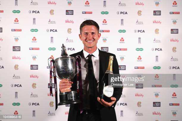 Joe Denly of Keny with his NatWest PCA Players' Player of the Year award during the NatWest PCA Awards at The Roundhouse on October 4 2018 in London...