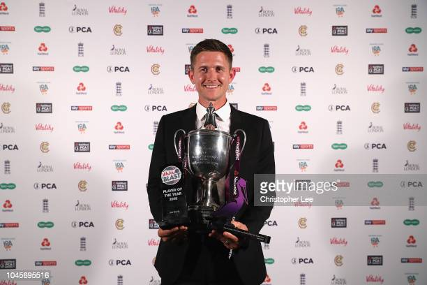 Joe Denly of Keny with his NatWest PCA Players' Player of the Year award, Vitality Blast Player of the Year and Royal London One-Day Cup Player of...