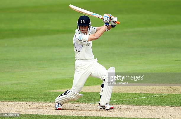 Joe Denly of Middlesex in action during the LV County Championship match between Surrey and Middlesex at The Kia Oval on August 15 2012 in London...