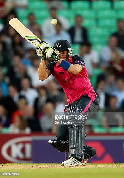 Joe Denly of Middlesex in action during the Natwest T20 Blast match between Middlesex Panthers and Somerset at The Kia Oval on June 18 2014 in London...